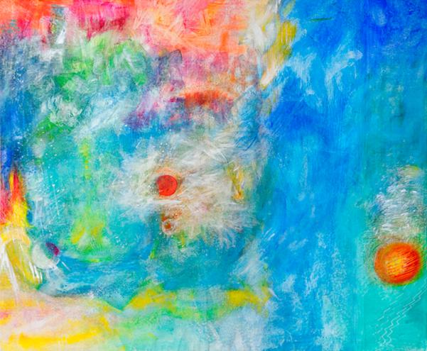 """Hildegard Fischer-Lind: Galaktische WeitenAcryl auf Leinwand, 180 x 150 cm, 2009<a href=""""http://www.artcollegium.de/doc02/03_hfl.html"""">www.artcollegium.de</a>"""