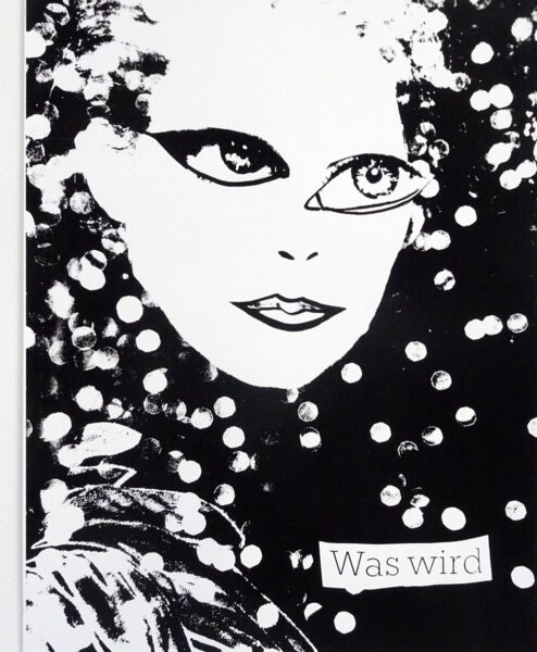 """Kerstin Lichtblau: Was wird. Siebdruck, 70 x 50 cm, 2020<a href=""""http://www.kerstin-lichtblau.de"""">www.kerstin-lichtblau.de</a>"""