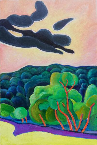 Gerrit Marsen: Es geht eine dunkle Wolke herein. Öl auf Leinwand, 40 x 60 cm, Mai 2020