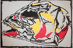 Gerrit Marsen: Corona-Fisch. Dreifarbiger Linolschnitt, 52 x 42 cm, April 2020